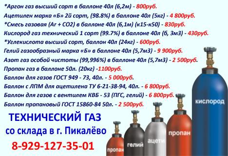 Технические газы со склада в Пикалёво.